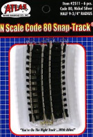 "N Code 80 Nickel Silver 1/2 9-3/4"" Radius Snap-Track (6) Atlas Trains"