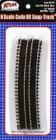 "N Code 80 Nickel Silver 19"" Radius Snap-Track (6) Atlas Trains"
