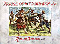 English Civil War 1642 Royalist Artillery (16 Figures/4 Cannons) 1/72 Call to Arms