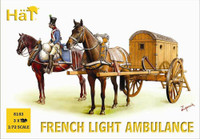 Napoleonic French Light Horse Drawn Ambulance (3 Figures, 6 Horses & 3 Ambulance) 1/72 Hat
