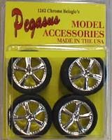 Belagios Chrome Rims w/Tires (4) 1/24-1/25 Pegasus