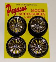 Bingz Chrome Spinning Centers Rims w/Tires (4) 1/24-1/25 Pegasus