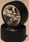 Alba's Chrome Spinning Centers Rims w/Tires (4) 1/24-1/25 Pegasus