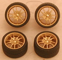 Bronze M5's Rims w/Tires for Import Cars (4) 1/24-1/25 Pegasus