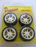 Daggers Chrome Rims w/Tires (4) 1/24-1/25 Pegasus