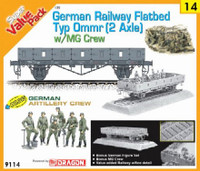 German Type Ommr (2 Axle) Flatbed Car w/MG42 Artillery Crew 1-35 Cyber Hobby