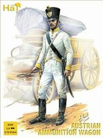 Napoleonic Austrian Ammunition Wagons (3 Wagons, 6 Figures & 12 Horses) 1/72 Hat