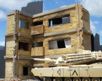 Ruined Large 3-Story Brick Apartment Building 1-35 Dioramas Plus