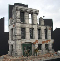 Ruined Small 3-Story Government Building 1-35 Dioramas Plus