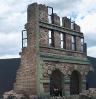 Ruined Brick Factory Building 1-35 Dioramas Plus