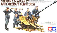 German 3.7cm Flak 37 Anti-Aircraft Gun w/5 Luftwaffe Crew 1/35 Tamiya