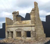 "Ruined 2-Story Brick Apartment Building (8""x9""x9"") 1-35 Dioramas Plus"