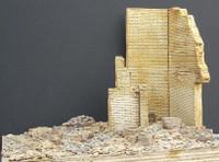 "Ruined Brick Corner Building Section (5""x4""x6"") 1-35 Dioramas Plus"
