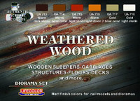 Diorama Weathered Wood Acrylic Set (6 22ml Bottles) Life Color