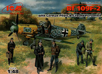 Bf-109F2 German Fighter w/Pilots & Ground Personnel 1939-45 (7 Figs.) 1/48 ICM Models
