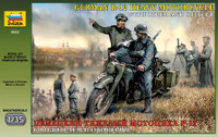 WWII German R-12 Motorcycle with Rider & Officer 1/35 Zvezda