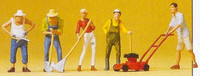 People Working in Garden w/Gardening Tools (5) Set #1 HO Scale Preiser Models