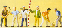 Road Construction Workers w/Accessories (6) HO Scale Preiser Models