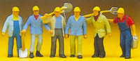 Modern Track Workers w/Accessories (6) HO Scale Preiser Models