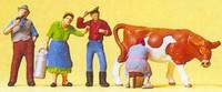 Farmers w/Cow (4) HO Scale Preiser Models