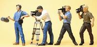 TV Film Crew w/Cameras (4) HO Scale Preiser Models