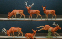 Stag Deer w/Painted Faces (6) HO Scale Preiser Models