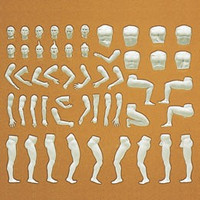 Unpainted Nude Male Figures (6) (Kit) 1-32 Preiser Models