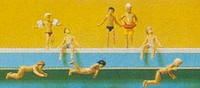 Children Swimming, Standing & Sitting at Pool (8) N Preiser Models