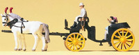 Horse Drawn Open Coach Black w/Rider & Couple N Preiser Models