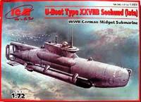 U-Boat Type XXVIIB Seehund (Late) WWII German Midget Submarine 1/72 ICM Models