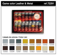 Leather & Metal Game Color Paint Set (16 Colors) 17ml Bottle Acrylic  Vallejo Paint
