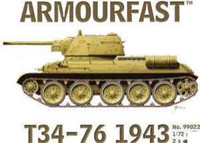 T34/76 Mod. 1943 Tank (2) 1-72 Armour Fast