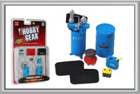 Garage Accessories: Barrels, Barrel Pump, Pads, Stool, Gas Container, Battery 1/24 Phoenix Toys
