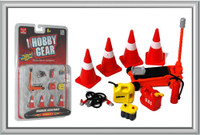 Roadside Accessories: Cones, Floor Jack, Jumper Cables, Gas/Oil Containers, Battery 1/24 Phoenix Toys