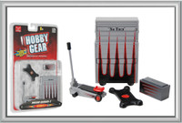 Garage Accessories: Tool Chest, Tool Box, Creeper, Floor Jack 1/24 Phoenix Toys