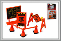Roadside Accessories: Warning Signs, Cones, Barrier Bars 1/24 Phoenix Toys