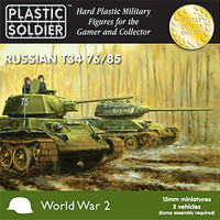 15mm WWII Russian T34 76/85 Tanks (5) 1/32 Plastic Soldier