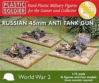 Russian 45mm Anti-Tank Gun Crew (16) w/4 Guns 1/72 Plastic Soldier