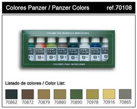 Panzer Model Color Paint Set 17ml Bottle Acrylic  (8 Colors)