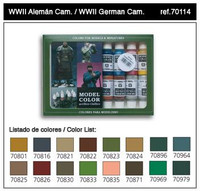 WWII German Camouflage Model Color Paint Set 17ml Bottle Acrylic  (16 Colors)