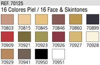 Face & Skin Tones Model Color Paint Set 17ml Bottle Acrylic (16 Colors)