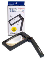 "Lighted Folding Magnifier 2"" x 4""  2x & 6x Power"