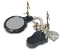 """Lighted Helping-Hand Dual Magnifier Lamp 2-1/2"""" Lens 4x & 3x Power w/Soldering Stand"""