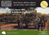 WWII Allied M4A1 76mm Wet Stowage Sherman Tank 15mm  (5) Plastic Soldier