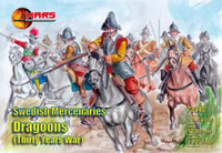 Thirty Years War Swedish Mercenaries Dragoons (12 w/Horses) 1/72 Mars Figures