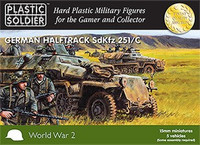 WWII German Halftrack SdKfz 251/C (5) & Crew (7 per vehicle) 15mm Plastic Soldier Company