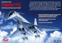 Tupolev 144 Charger Soviet Supersonic Passenger Airliner 1/144 ICM Models