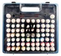Model Color Acrylic Basic Paint Set in Plastic Carry Case (72 Colors & Brushes) Vallejo Paint