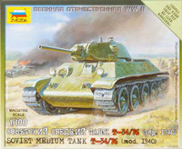Soviet T-34/76 Mod.1940 Medium Tank (Snap Kit) 1/100 Zvezda