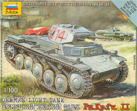 German Pz.Kpfw.II Light Tank (Snap Kit) 1/100 Zvezda